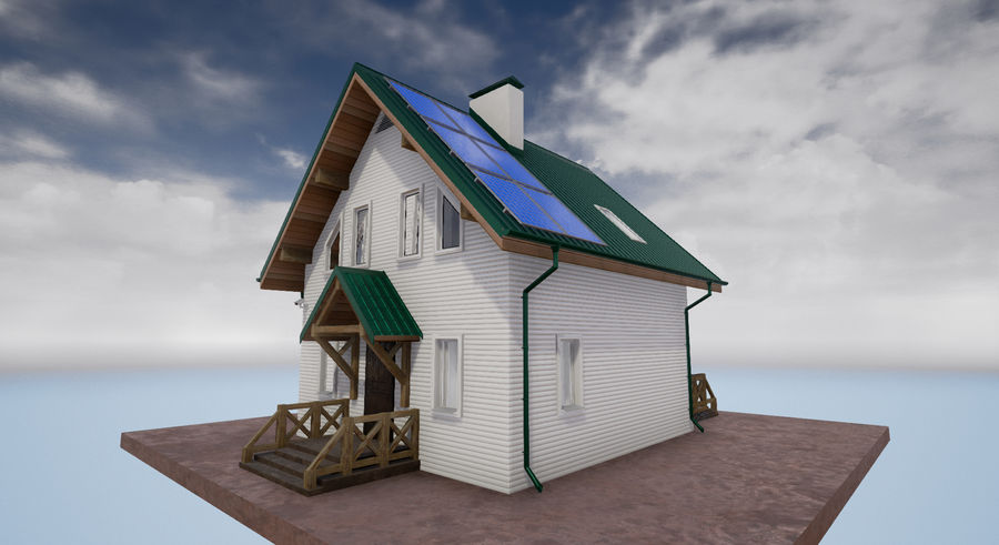cottage houses royalty-free 3d model - Preview no. 3