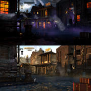 Steampunk stad 3d model