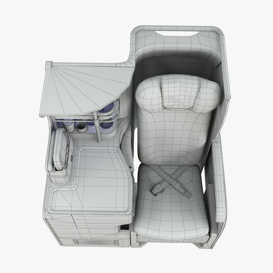 A380 Business Seat royalty-free 3d model - Preview no. 14