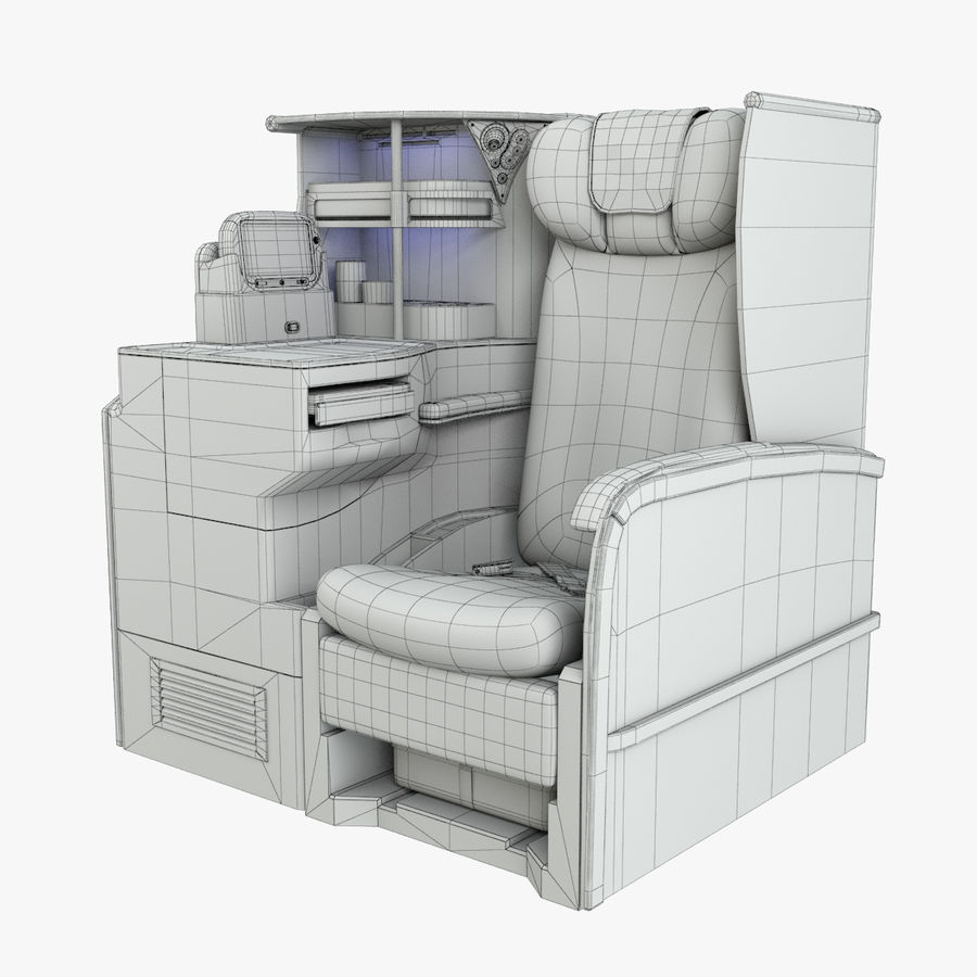 A380 Business Seat royalty-free 3d model - Preview no. 2