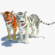 Cartoon Tiger (riggad) (vit & naturlig) 3d model
