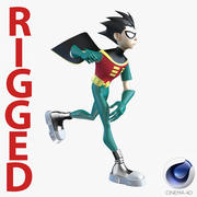 Robin Cartoon Character Rigged voor Cinema 4D 3d model