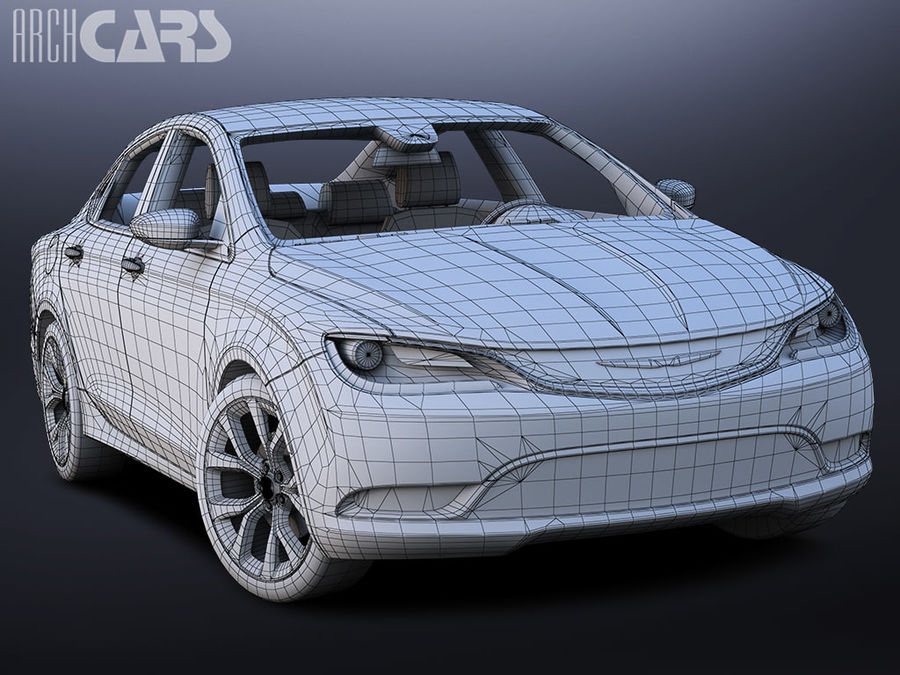 Chrysler 200 royalty-free 3d model - Preview no. 6