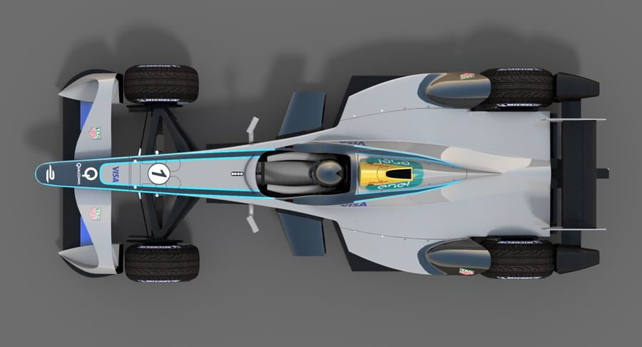 Formula E SRT-01E Season 2016-17 royalty-free 3d model - Preview no. 7