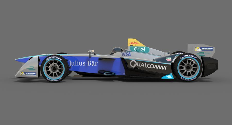 Formula E SRT-01E Season 2016-17 royalty-free 3d model - Preview no. 6