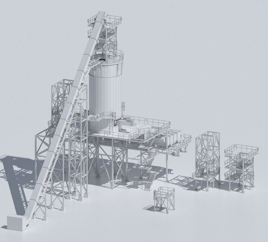 Factory 03 royalty-free 3d model - Preview no. 12