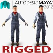 Mayaのために装備された機関車エンジニア 3d model