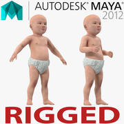 Asian Baby Rigged for Maya 3D Model 3d model