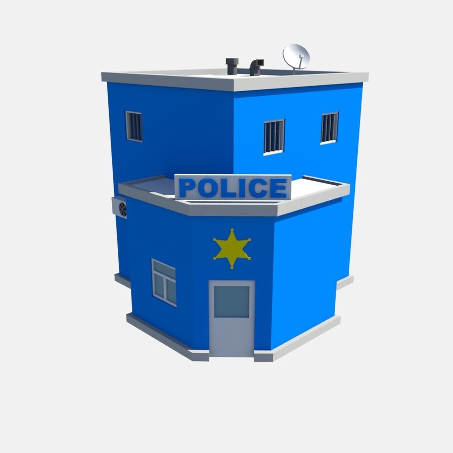 police low poly royalty-free 3d model - Preview no. 2