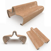 Ławka podwójna drewniana na zewnątrz 3d model