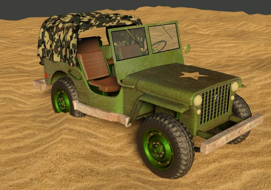 Militärjeep royalty-free 3d model - Preview no. 3