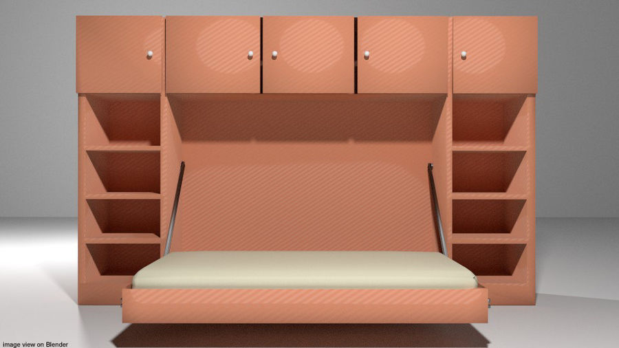 Letto - Murphy Bed royalty-free 3d model - Preview no. 2
