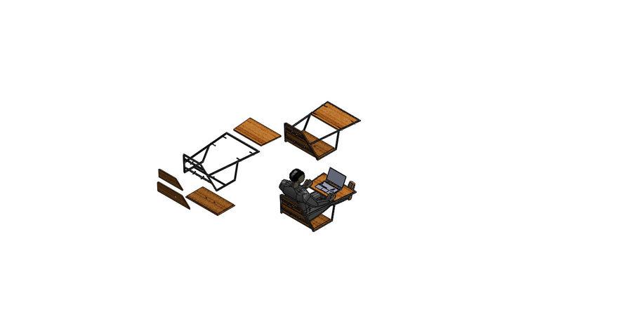 Silla futurista con muebles de mesa royalty-free modelo 3d - Preview no. 2
