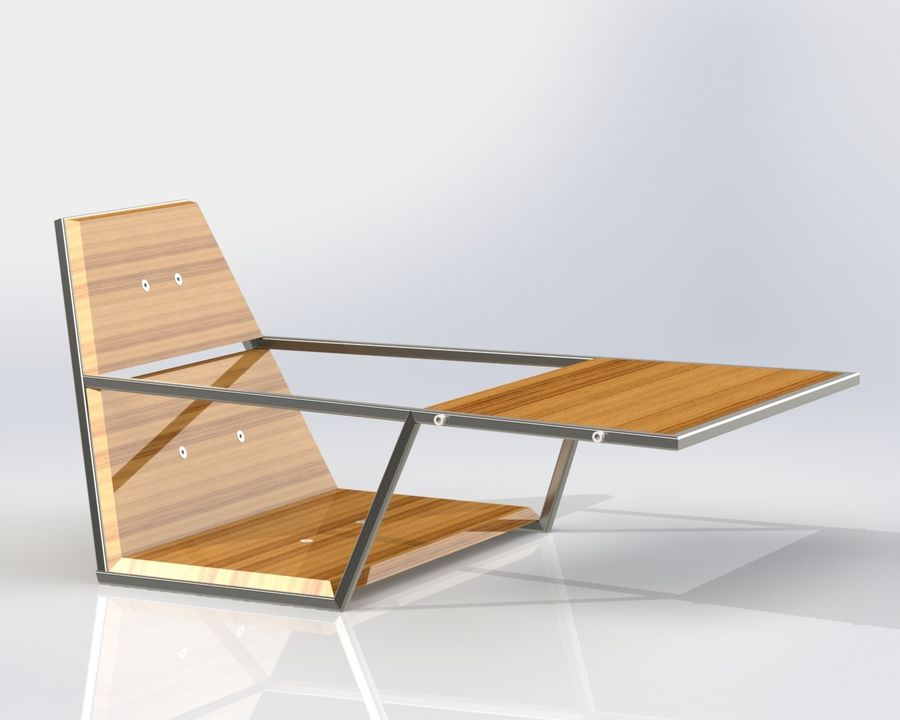 Silla futurista con muebles de mesa royalty-free modelo 3d - Preview no. 1
