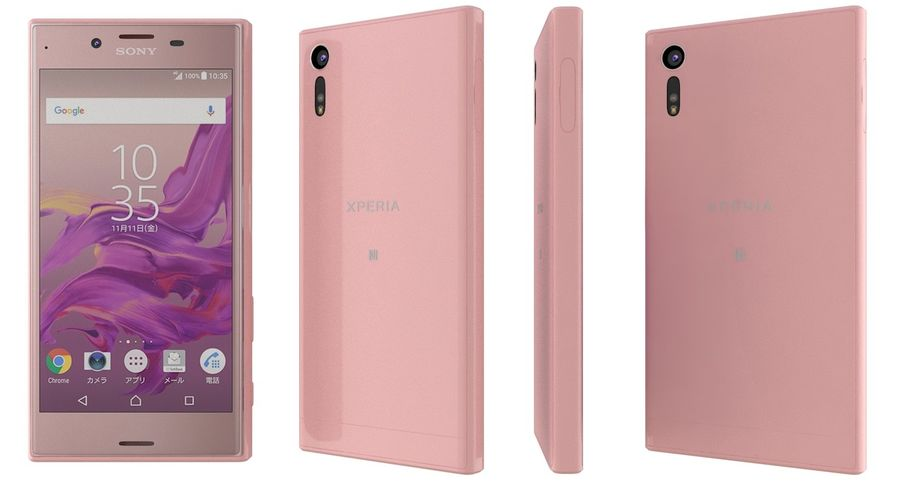 Sony Xperia XZ Deep pink (1) royalty-free 3d model - Preview no. 3
