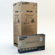 Conjunto de caja de cartón modelo 3d