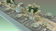 저녁 식사 테이블 세트 3d model
