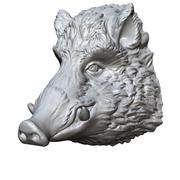 イノシシの頭の彫刻 3d model