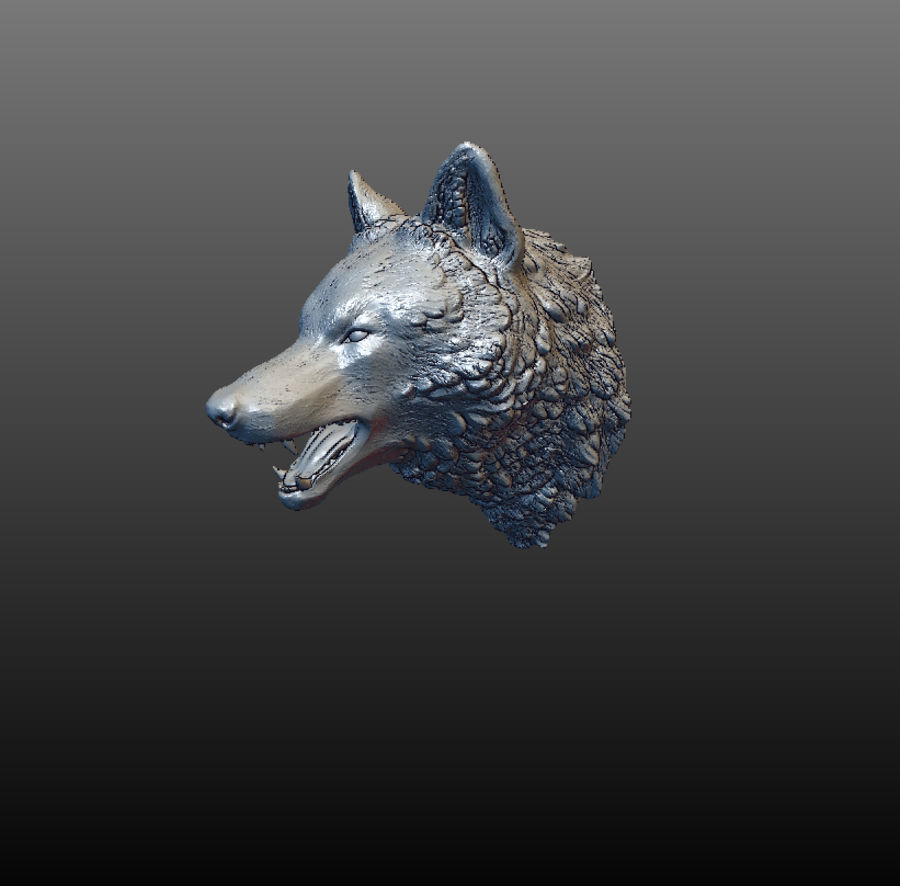 Cabeza de lobo sólido royalty-free modelo 3d - Preview no. 3