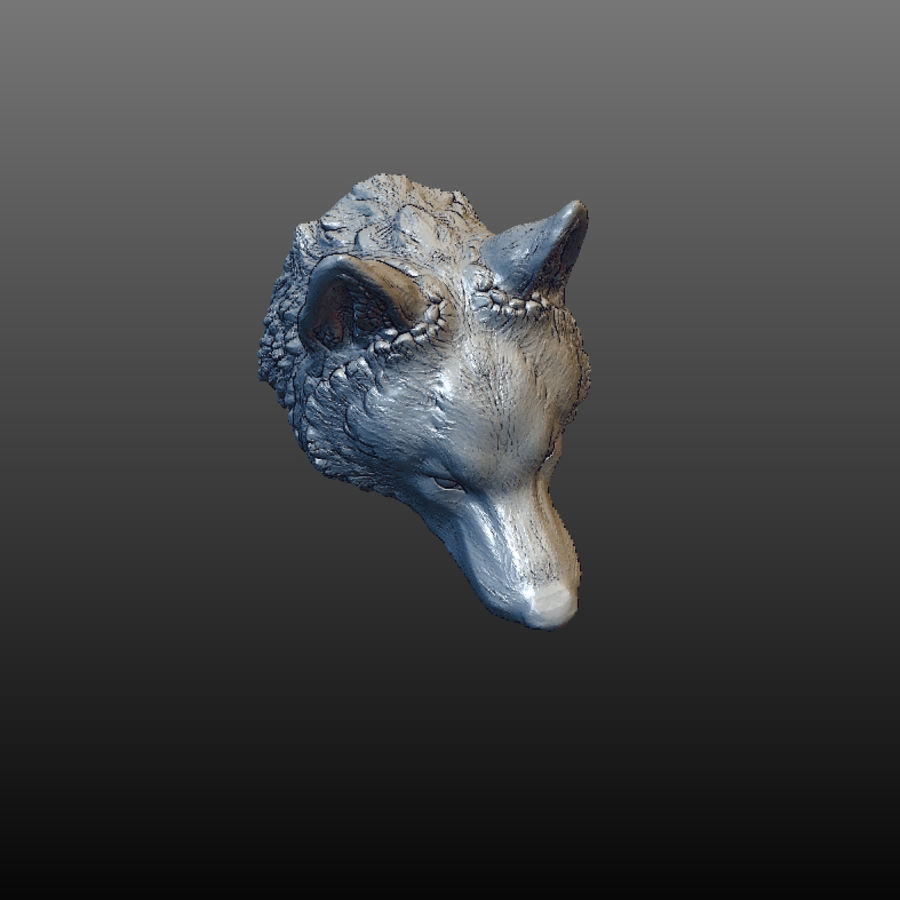 Cabeza de lobo sólido royalty-free modelo 3d - Preview no. 4