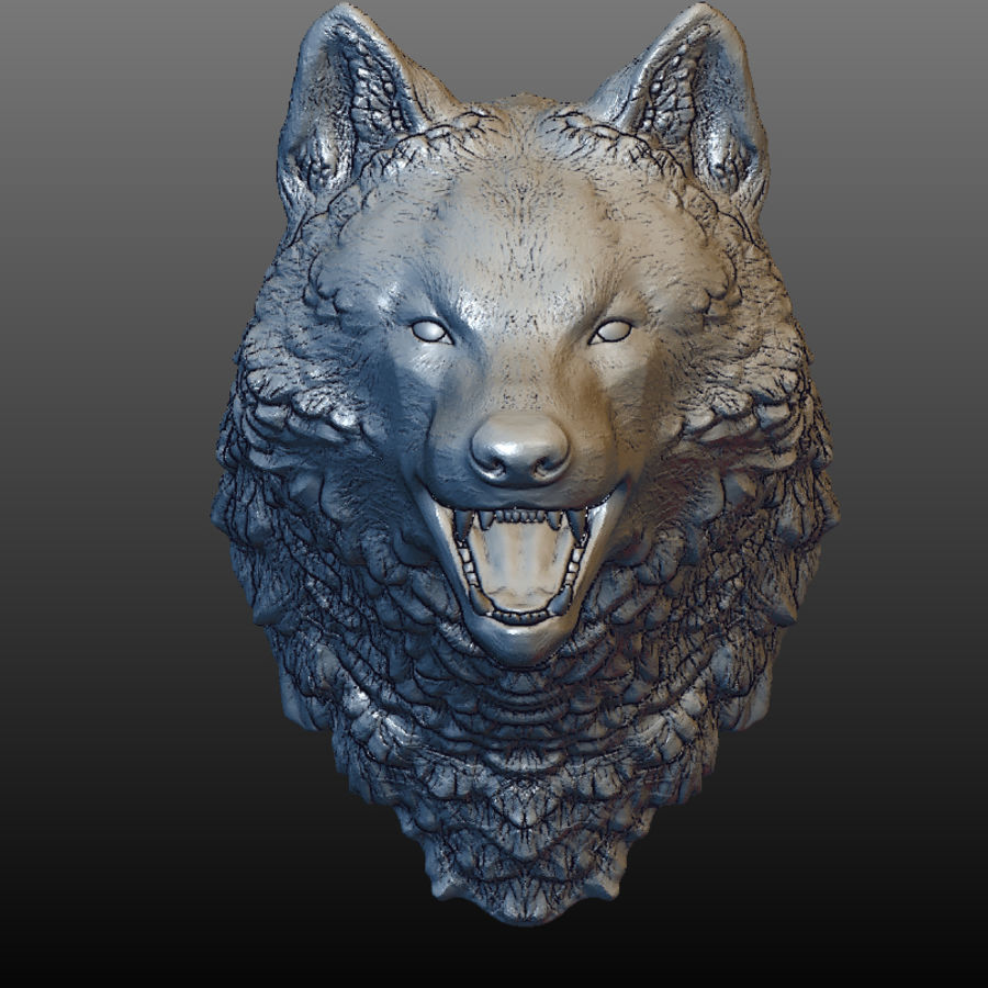 Cabeza de lobo sólido royalty-free modelo 3d - Preview no. 2