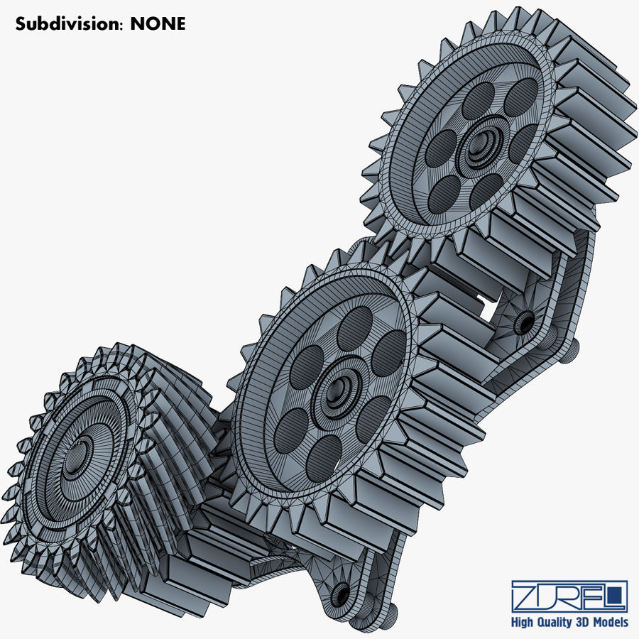 Gear mechanism v 5 royalty-free 3d model - Preview no. 34