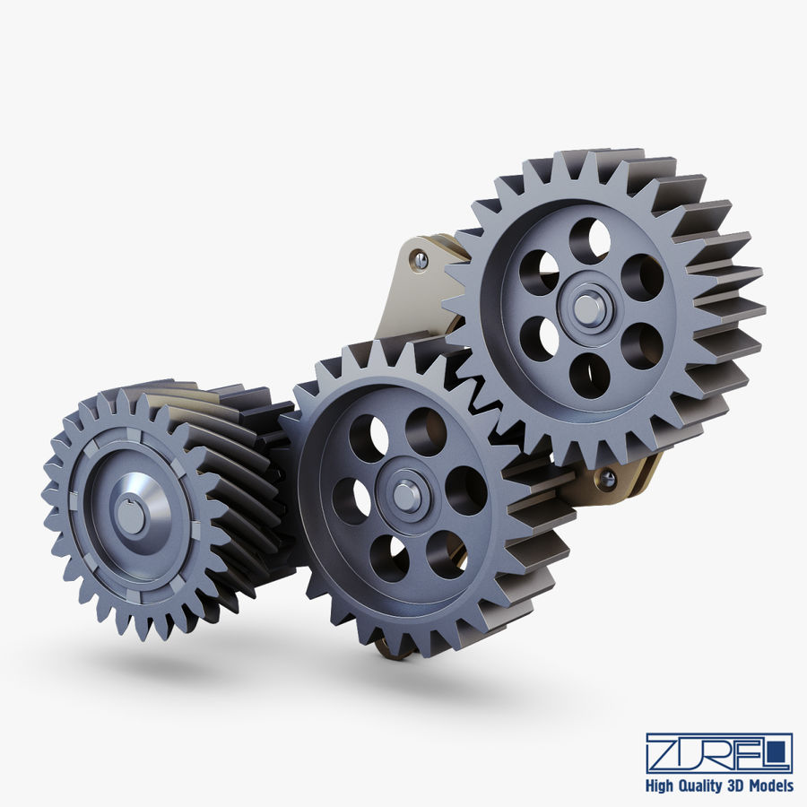 Gear mechanism v 5 royalty-free 3d model - Preview no. 2