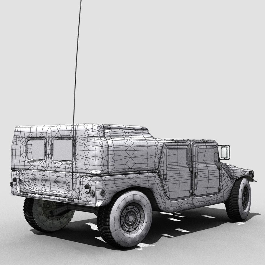 Military Humvee royalty-free 3d model - Preview no. 7