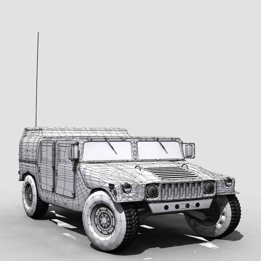 Military Humvee royalty-free 3d model - Preview no. 6