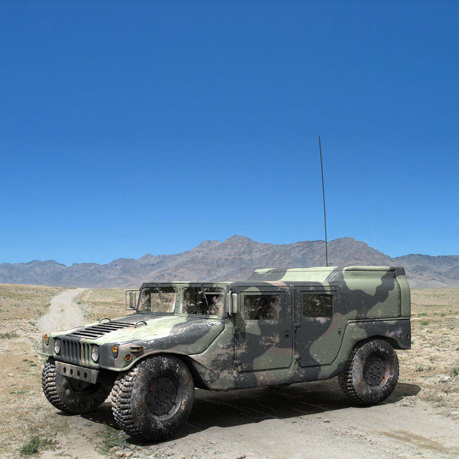 Military Humvee royalty-free 3d model - Preview no. 5