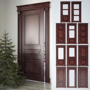 Çam ağacı ile klasik kapılar koleksiyonu 3d model