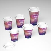 Pappbecher-Set, 110 ml, 165 ml, 175 ml, 210 ml, 250 ml, 500 ml. 3d model