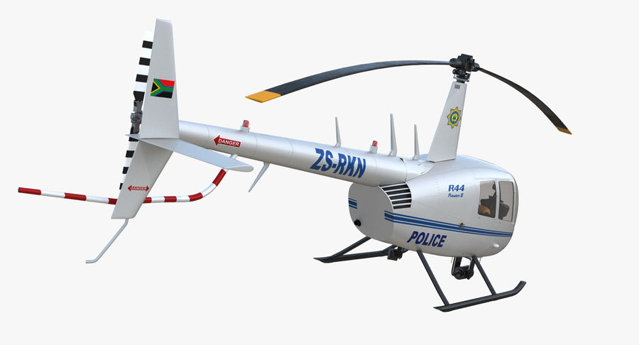 Police Helicopter Robinson R44 Rigged royalty-free 3d model - Preview no. 14