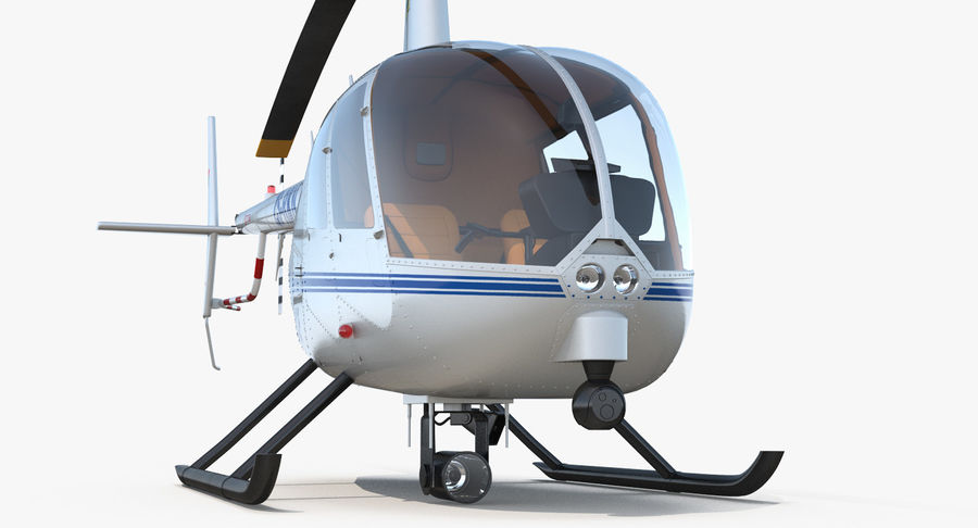 Police Helicopter Robinson R44 Rigged royalty-free 3d model - Preview no. 19
