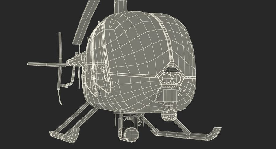 Police Helicopter Robinson R44 Rigged royalty-free 3d model - Preview no. 29