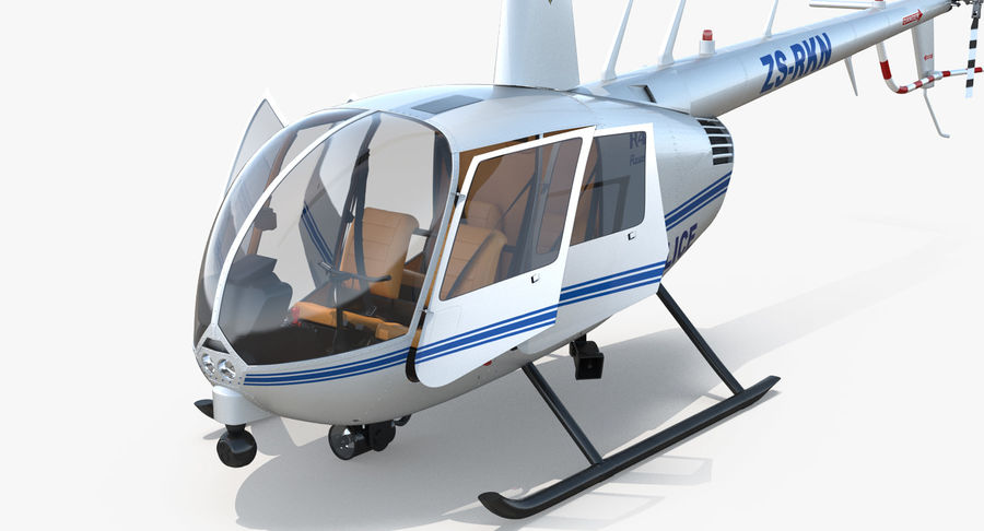 Police Helicopter Robinson R44 Rigged royalty-free 3d model - Preview no. 18