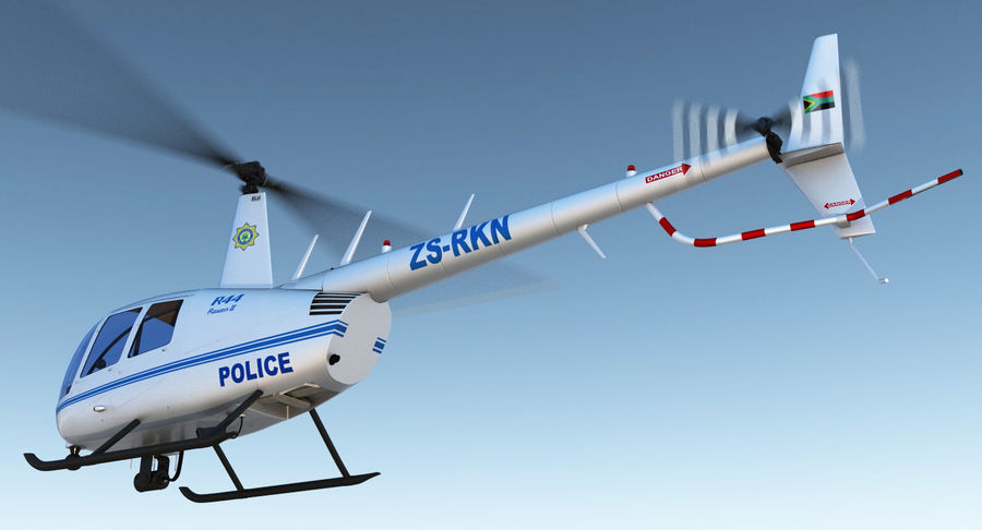 Police Helicopter Robinson R44 Rigged royalty-free 3d model - Preview no. 4