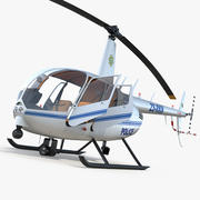 Police Helicopter Robinson R44 Rigged 3d model