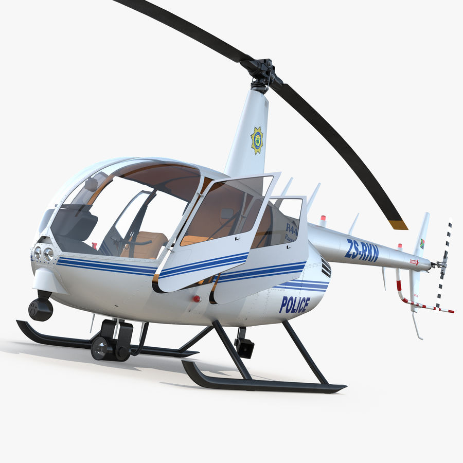 Police Helicopter Robinson R44 Rigged royalty-free 3d model - Preview no. 1