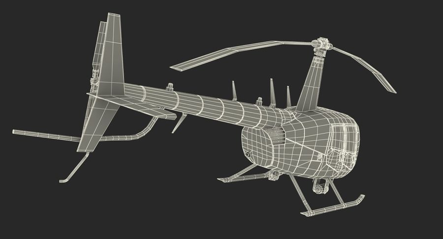 Police Helicopter Robinson R44 Rigged royalty-free 3d model - Preview no. 28