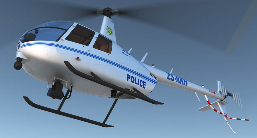 Police Helicopter Robinson R44 Rigged royalty-free 3d model - Preview no. 3