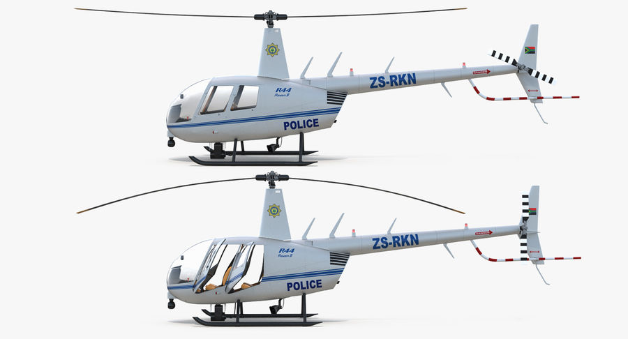Police Helicopter Robinson R44 Rigged royalty-free 3d model - Preview no. 13