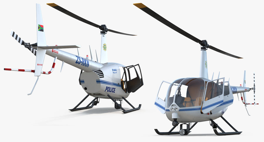 Police Helicopter Robinson R44 Rigged royalty-free 3d model - Preview no. 9