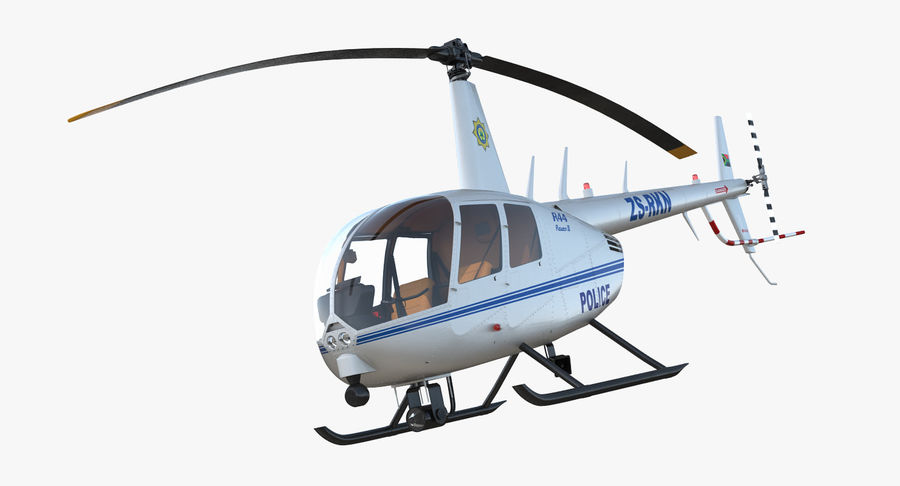 Police Helicopter Robinson R44 Rigged royalty-free 3d model - Preview no. 12
