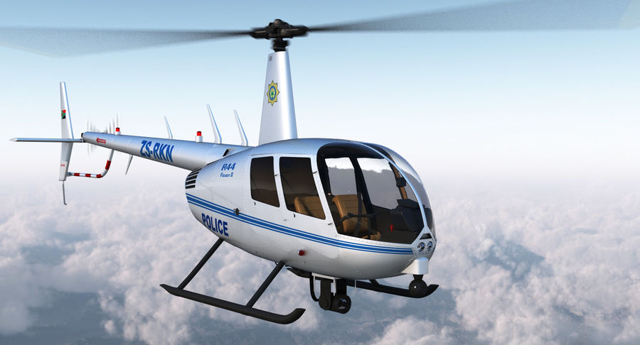 Police Helicopter Robinson R44 Rigged royalty-free 3d model - Preview no. 5