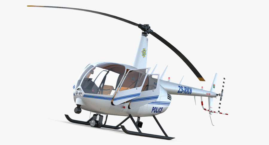 Police Helicopter Robinson R44 Rigged royalty-free 3d model - Preview no. 2