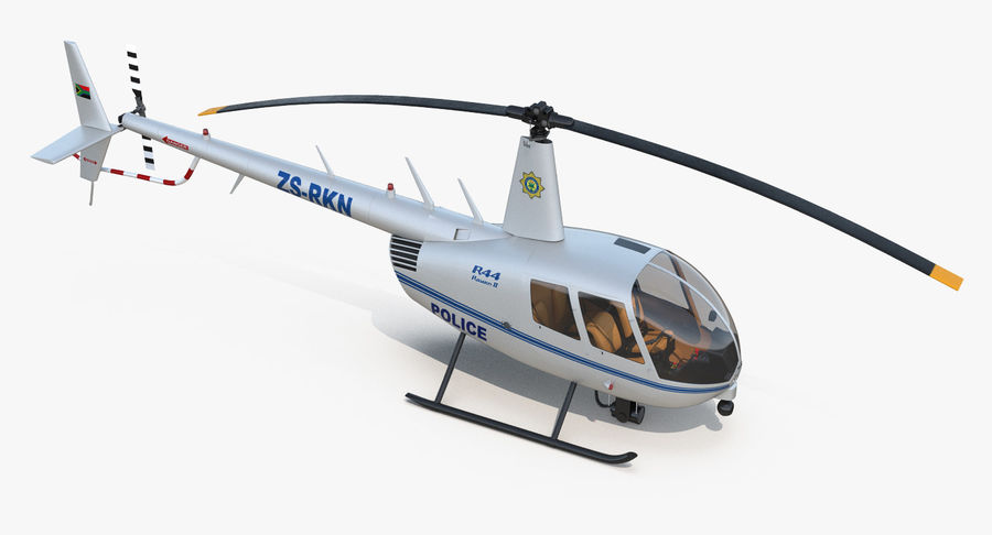 Police Helicopter Robinson R44 Rigged royalty-free 3d model - Preview no. 16