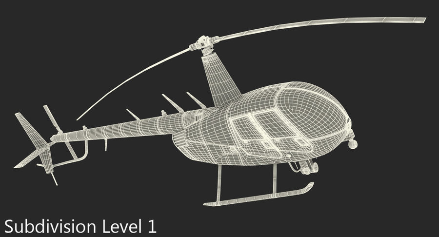 Police Helicopter Robinson R44 Rigged royalty-free 3d model - Preview no. 22