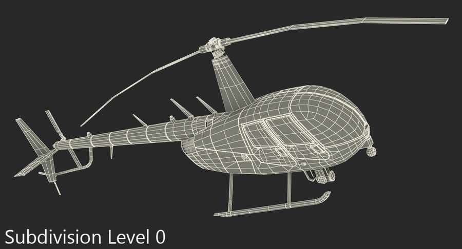Police Helicopter Robinson R44 Rigged royalty-free 3d model - Preview no. 21