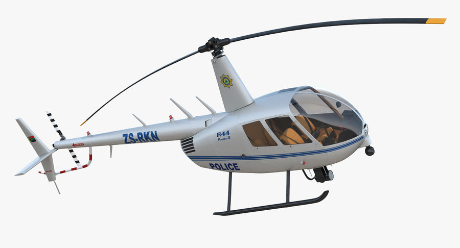 Police Helicopter Robinson R44 Rigged royalty-free 3d model - Preview no. 11